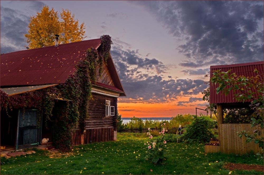 осталась красивые картинки с деревенской природой и домами есть