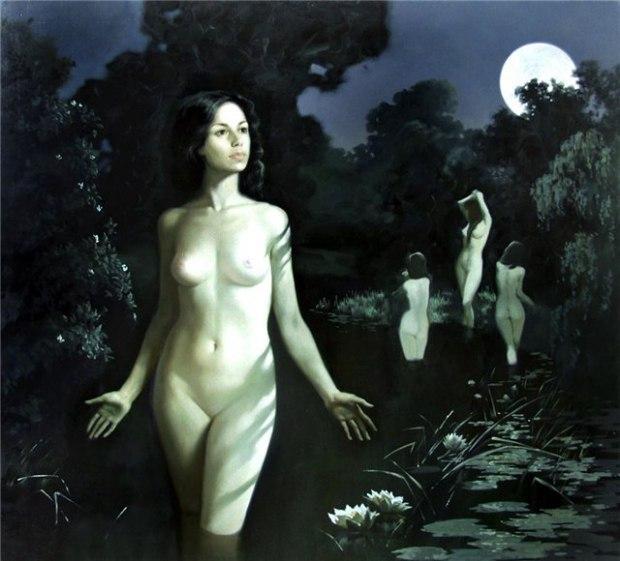 Купание Маргариты Александра Недзвецкая / девушка, живопись, ню, женщина, х