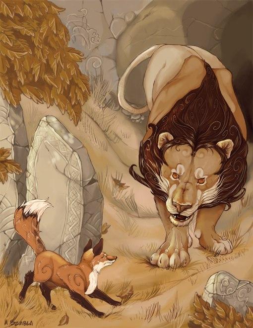 басня лев и лисица картинка