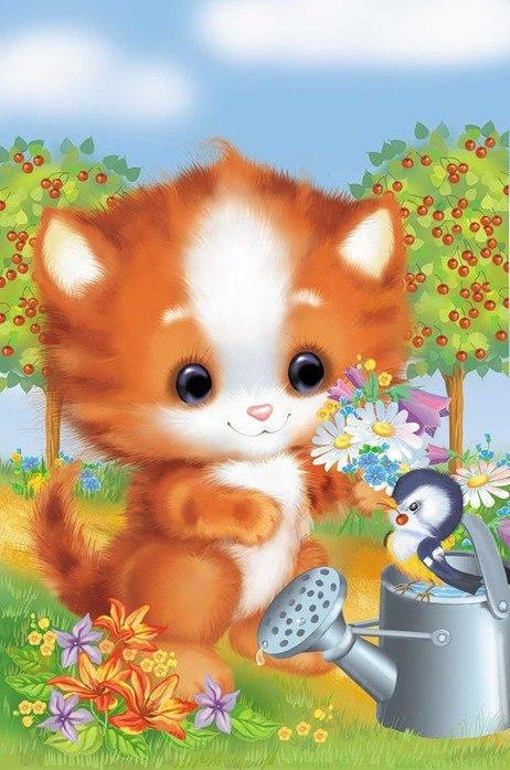 Ночи, открытки детские котята