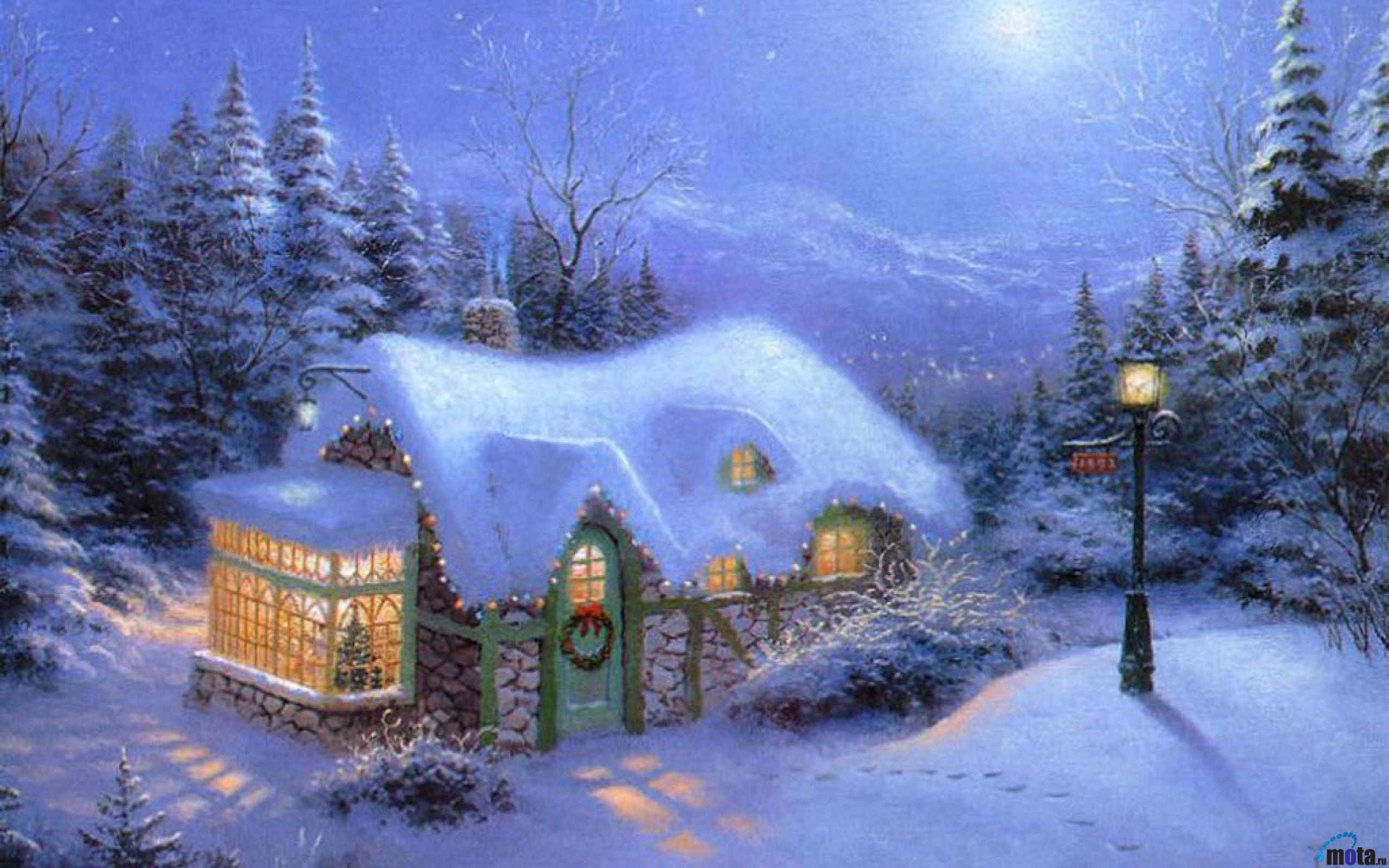 Новогодние открытки с домиками