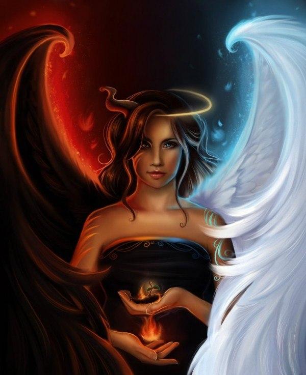 Винтаж открытки, прикольные картинки демона и ангела