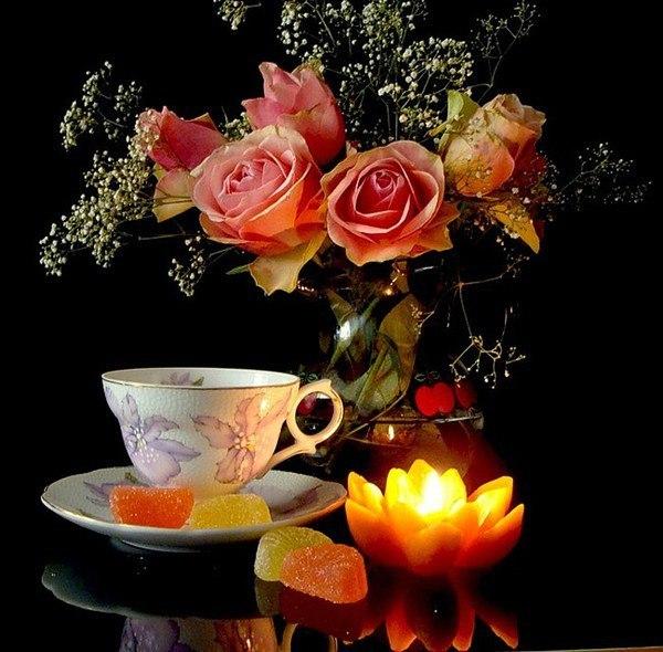 Розы для, уютного вечера картинки с надписями анимация