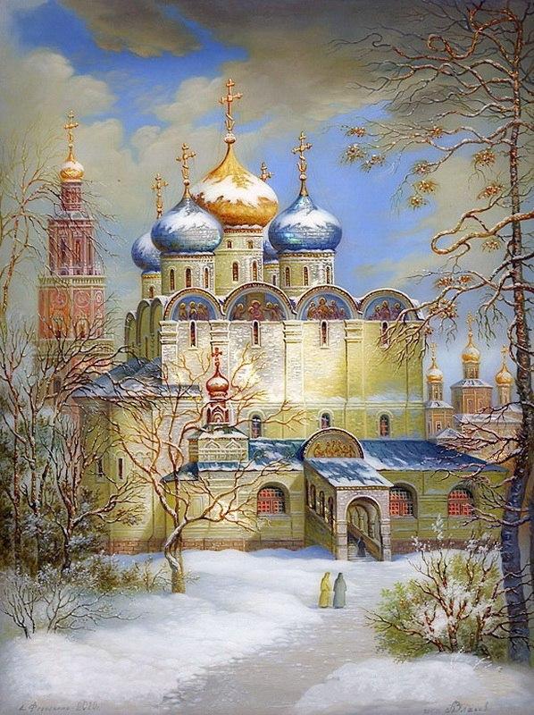 Днем, церковь на открытку