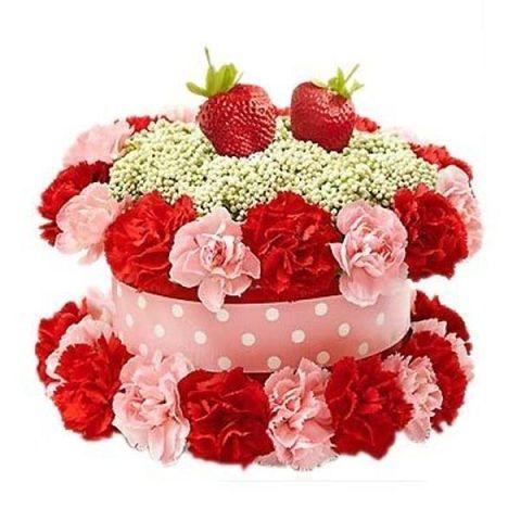 Торт и цветы открытка, днем ангела открытки