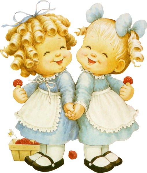 Открытка с двумя девочками, открытки