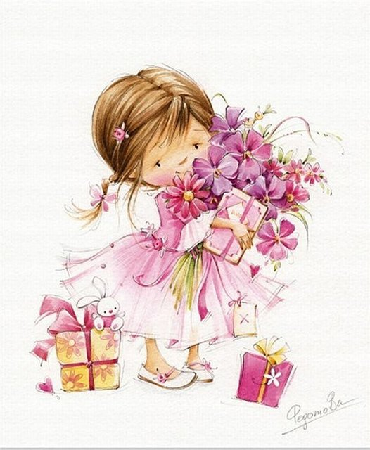 Открытка с куклой с днем рождения, розы