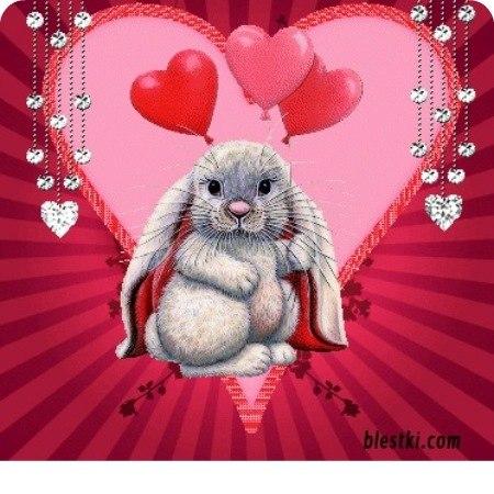 Картинки зайчиков с сердечками и надписями
