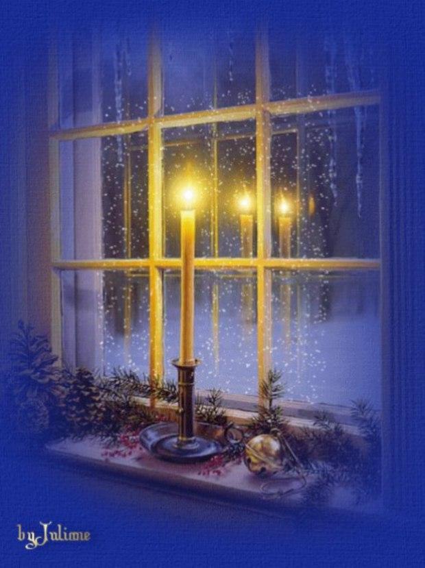 Свеча на окне открытка, про