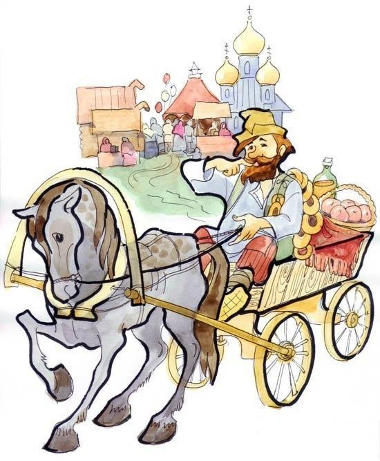 Смешной рисунок лошади с телегой