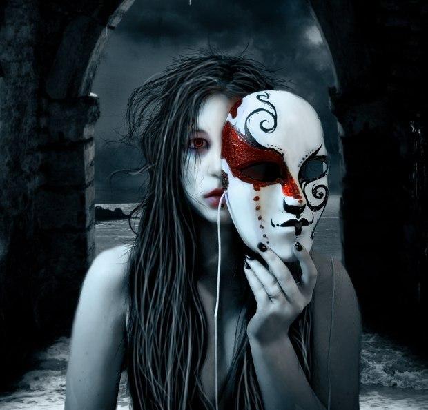 Картинка девушка снимает маску