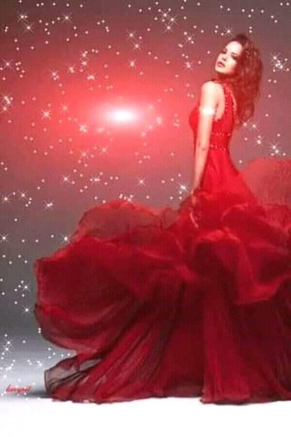 Картинки анимация девушки в красном платье