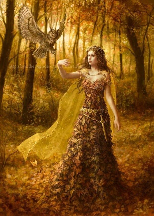 Алмазная вышивка леди осень