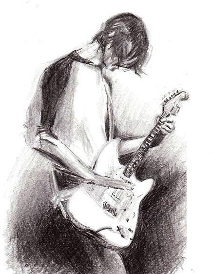 Нарисованный парень с гитарой картинки