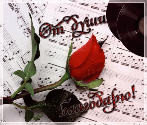 Красивая открытка спасибо за песни