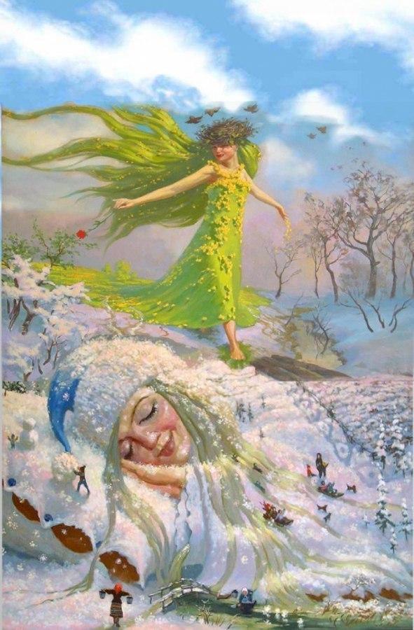 открытка встреча зимы с весной что