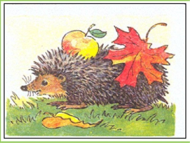 Нарисовать ёжика в листьях